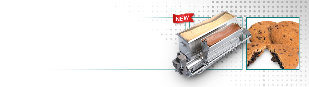 <b>NEW Encapsulated Cookie Capability</b><p>Filled cookies can be produced on a standard wirecut machine using an optional encapsulation module and iris cutter.
